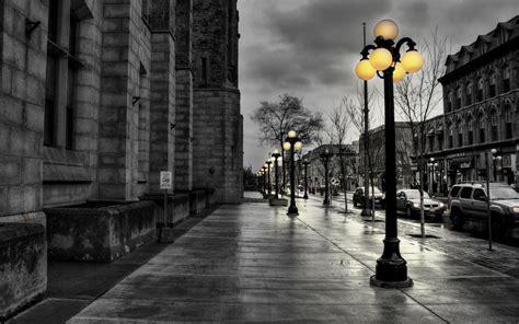 black  white nature yellow walk street lights wallpaper
