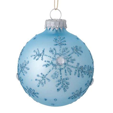 krebs matt shiny pale blue snowflake glass baubles 4 x