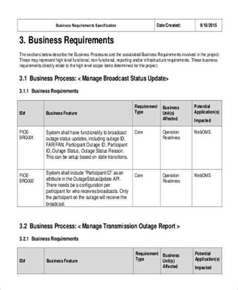 Business Requirement Specification Document Template by Business Requirement Specification Document Template 28