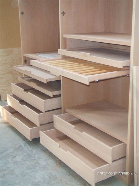 walk in closet in beech and cedar wood rigamonti arredi