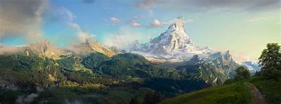 Mountain Lonely Concept Panorama Landscape Mountains Space