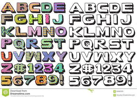 doodle font colors  stock illustration image