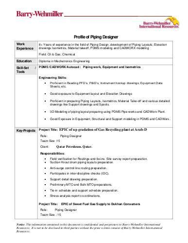 bwir s placement solutions sle resume of piping