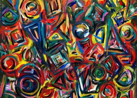 Abstract Painting Using Shapes by Original Abstract Acrylic Painting Shapes By