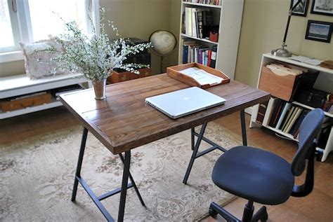 how to make desk legs how to make a desk with ikea trestle legs and old wood