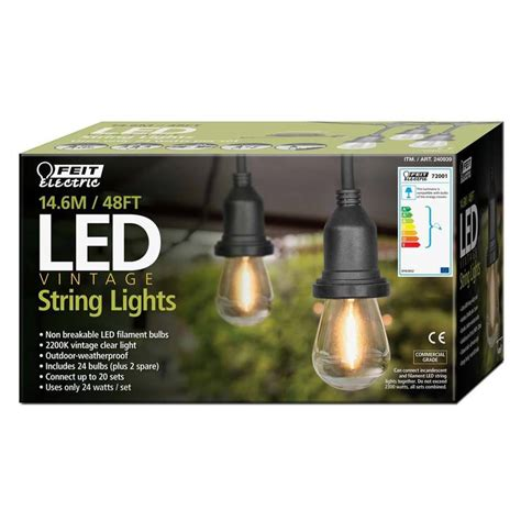 Costco String Lights by Feit 48ft 14 6m Led Indoor Outdoor Waterproof String