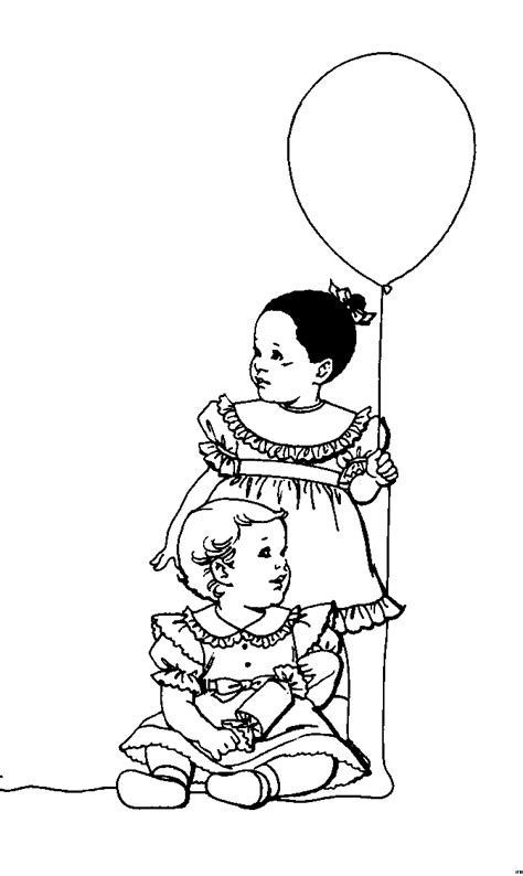 kinder mit luftballon ausmalbild malvorlage kinder