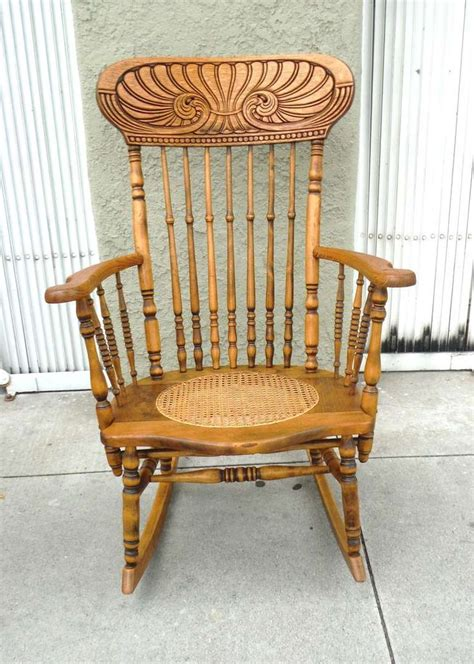 19th Century Pressed Back Rocking Chair Made From Pine