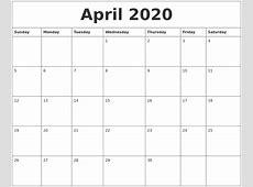 April 2020 Calendar Month