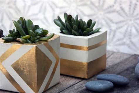 living room square gold leaf cement planter could diy