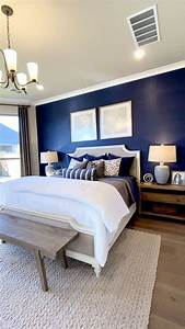 Master, Bedroom, With, Blue, Focal, Wall, Bedroom, Blue, Focal