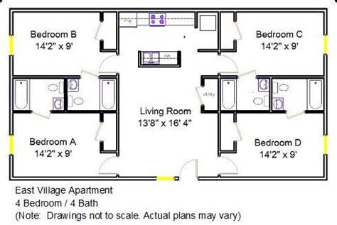 4 bedroom 2 bath floor plans east village apartment floor plan 4 bedroom 4 bath 2