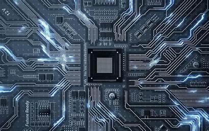 Circuit Chip Processor Transistors Tracks Glow Widescreen