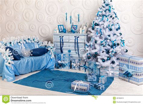 festive interior decoration for in blue and white stock image image 49785813