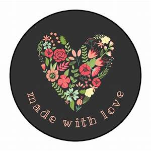 Quot Made With Love Quot Floral Heart Circle Labels Label