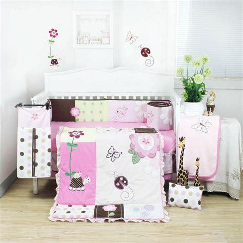 pieces beautiful pink flower baby girls crib  bedding