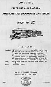 American Flyer Locomotive 312 Parts List  U0026 Diagram