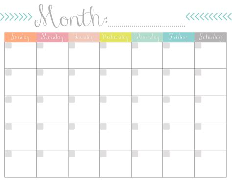 monthly calendar template monthly calendar free printable
