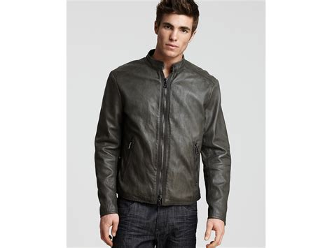 John Varvatos Lambskin Bomber Leather Jacket In Gray For