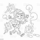Detective Coloring Outline Loupe Cartoon Vector Child Illustration Adventure sketch template