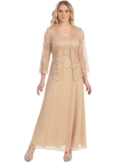 Long Evening Dress with 3/4 Sleeve Lace Jacket | Sung Boutique L.A.