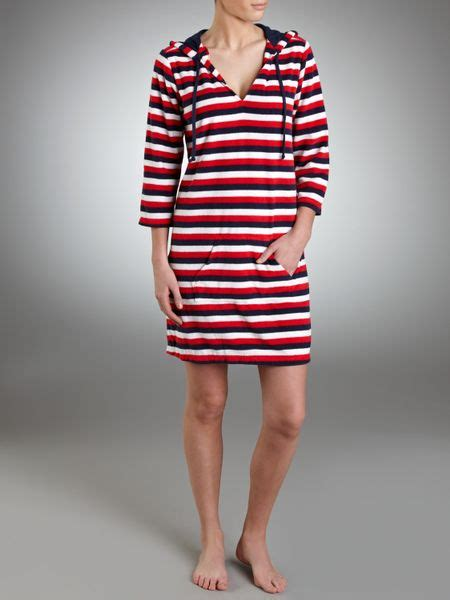 john lewis striped towelling beach dress  red multi
