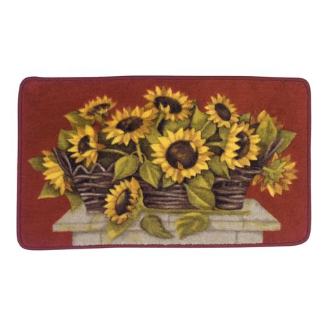 sunflower kitchen mat essential home sunflower basket kitchen rug 2611