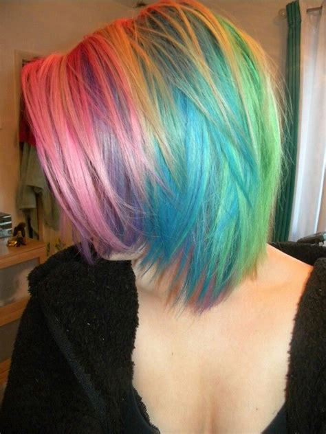 Best 25 Short Rainbow Hair Ideas On Pinterest Colored