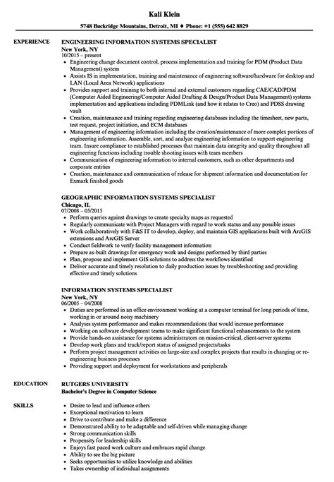 information systems specialist resume sles velvet