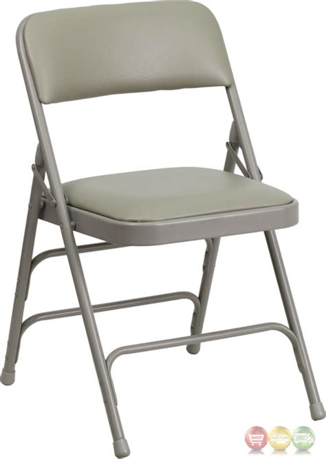 hercules hinged gray vinyl upholstered metal