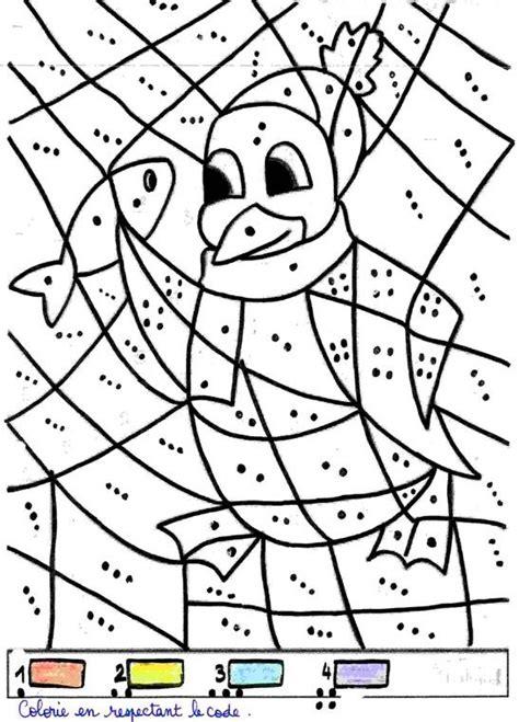 coloriage pingouin educatif pour apprendre  compter