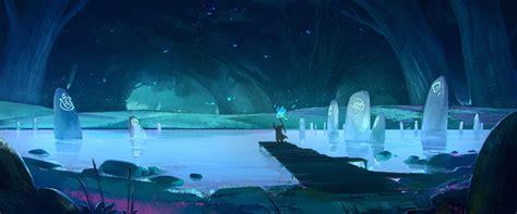 Fantasy Art, Blue, Pond, Cave, Magic Wallpapers Hd