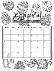 March Calendar Easter 2019 Coloring Pages Printable