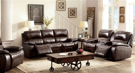 ruth brown leather reclining living room set cmbr sf