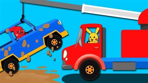 Mega Pikachu Car Got Stuck In Mud,pokemon Pikachu Cartoon