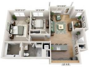 3d 2 Bedroom Apartment Floor Plans