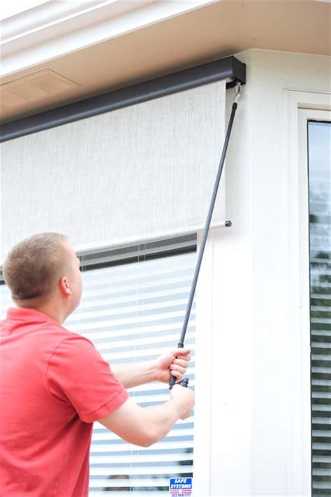 exterior solar screen shades  crank control modern