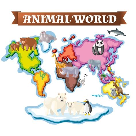 Animal World Map Wallpaper - animal world map design vector free
