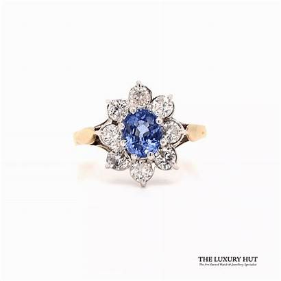Diamond Tanzanite 9ct Certified Ring Sell Cluster