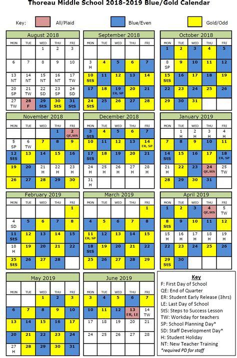 bluegold day calendar thoreau middle school