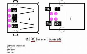 Usb Pcb Connector Pinning  Copper Side