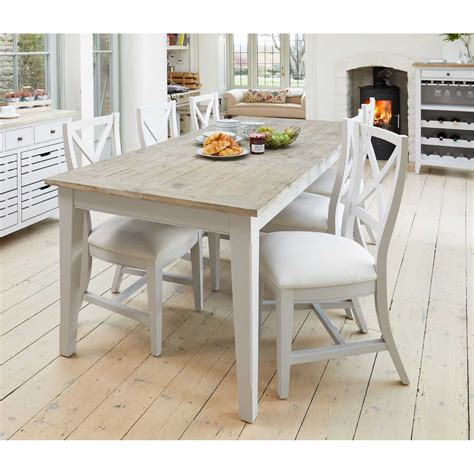 grey painted extending kitchen  dining table  limed