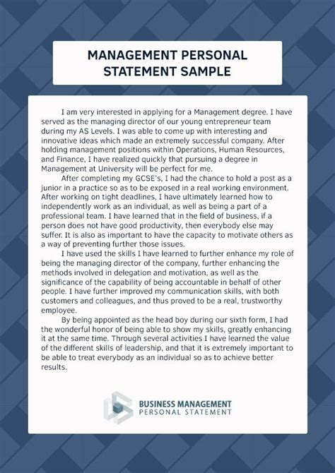 pin  business management personal statement samples  management personal statement sample