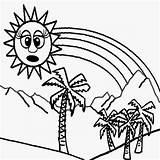 Coloring Sun Season Palm Tree Rainbow Tropical Printable Drawing Children Activities Cartoon Minion Nature Sheets Drawings Craft Sunglasses Trouble Kid sketch template