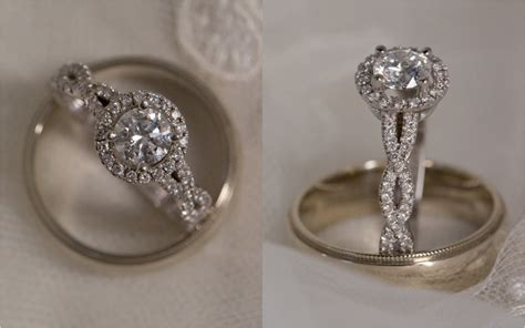 Round Halo Engagement Ring With Infinity Band