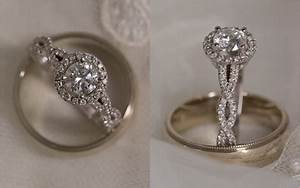 Round halo engagement ring with infinity band weddingbee for Wedding band to go with halo ring