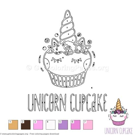 unicorn cupcake color  number  instant  coloring coloringbook coloringpages