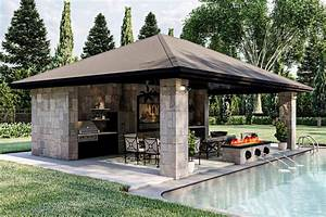 Plan, 62303dj, Poolhouse, With, Firepit, Fountains, And, 3