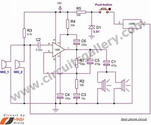 Simple Door Phone Intercom Circuit Schematic  Duplex