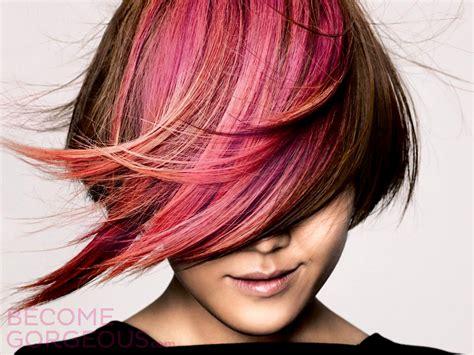 Pink Highlights Brown Hair Color Medium Hair Styles